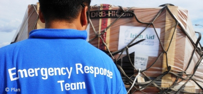 NGO partners, Plan will distribute Irish Aid emergency supplies from our depot in Dubai. Photo: Plan