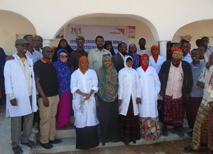 Health staff at the opening of Celmadobe Primary Health Unit in Eyl, Puntland, Somalia. Photograph Credit: World Vision 2016