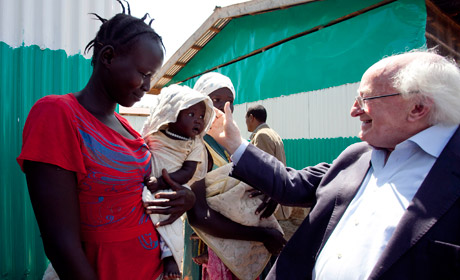 President Higgins visits GOAL Nutrition Centre, Tierkadi Refugee Camp