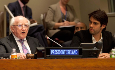 President Higgins speaking at the Global Goals Summit New York