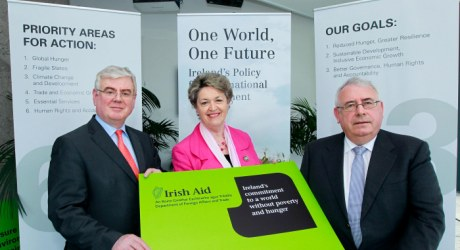 An Tanaiste, Eamon Gilmore with Nora Owens and Minister of State, Joe Costello at the launch of One World, One Future: Ireland's Policy for International Development. Photo: Maxwells