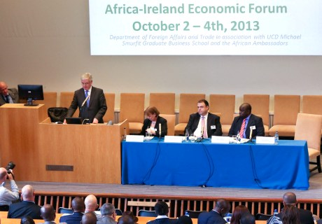 The Tanaiste and Minister for Foreign Affairs and Trade announces the Mwangi Scholarship at the Africa Ireland Economic Forum in October 2013.