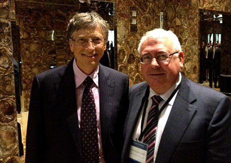 Bill Gates with Minister of State Joe Costello at Global Vaccine Summit in Abu Dhabi. Photo: Irish Aid