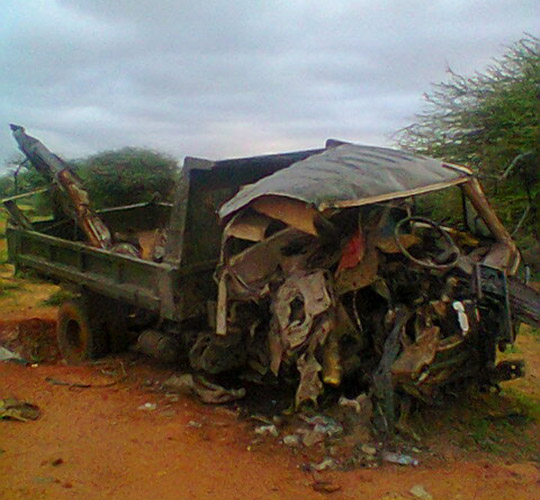 The aftermath of the anti-tank mine accident, a stone's throw from Nimco's house. Credit: Halo Trust