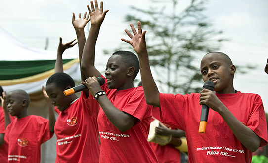 CHildren dancing during an AIDS awareness event