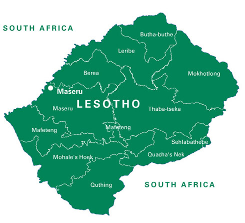 A large map of Lesotho