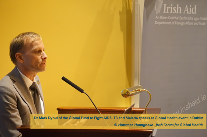 Dr. Mark Dybul speaking at the public global health event in the Royal College of Surgeons of Ireland.