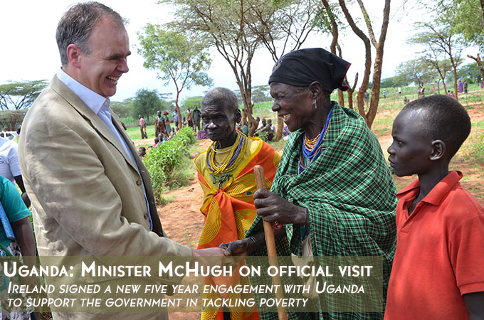 Minister McHugh greets social cash transfer recipients in Karamoja region, Uganda