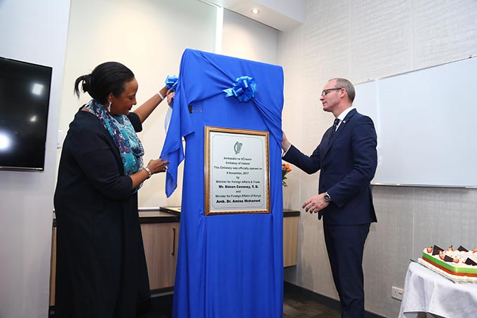 Minister for Foreign Affairs and Trade, Mr. Simon Coveney, T.D., and Cabinet Secretary Dr. Amina Mohamed, Minister of Foreign Affairs, Kenya  jointly opened the Embassy of Ireland to Kenya on Wednesday 8th November 2017
